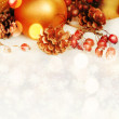 Christmas composition with snow and Christmas decoration (with sample text) — Stock Photo