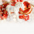 Christmas composition with horse and Christmas decoration. — Stock Photo #34209911