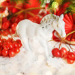 Christmas composition with horse and Christmas decoration. — Stock Photo