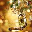 New year clock on abstract background . — Foto de Stock
