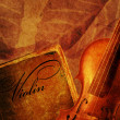 Violin and old book on a brown grunge background  — Foto Stock