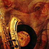 Old beautiful saxophone in retro design look — Stok fotoğraf
