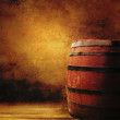 Old oak barrel on wooden table. — Stock Photo #34898903