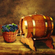 Barrel with fresh red grapes.  — Stockfoto