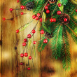 Christmas Vintage decoration border design over wooden background  — ストック写真