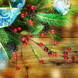 Stock Photo: Christmas Vintage decoration border design over wooden background