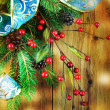 Christmas Vintage decoration border design over wooden background — Stock Photo #36316973