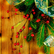 Christmas Vintage decoration border design over wooden background — Stock Photo