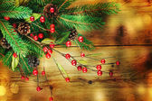 Christmas Vintage decoration border design over wooden background — Stock Photo