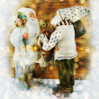 Two Santa Clauses on the winter background.  — Stockfoto