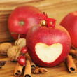 Red apple with heart shape. — Zdjęcie stockowe