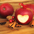 Red apple with heart shape. — Stock Photo