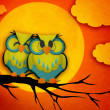 Valentine's Day card with cute owl couple sitting on a branch, with the moon in the background. — Stock Photo #37230741