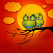 Valentine's Day card with cute owl couple sitting on a branch, with the moon in the background. — Stock Photo #37230803