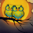 Valentine's Day card with cute owl couple sitting on a branch, with the moon in the background. — Stock Photo #37230825