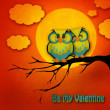Valentine's Day card with cute owl couple sitting on a branch, with the moon in the background. — Stock Photo