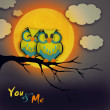 Valentine's Day card with cute owl couple sitting on a branch, with the moon in the background. — Stock Photo #37230911