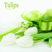 Bouquet of white tulips isolated on white background. — Stock fotografie