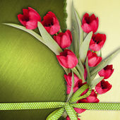 Greeting card with red tulips. — Stock Photo