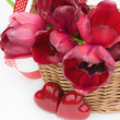 Beautiful tulips in basket isolated on white. — Stock Photo #39751449