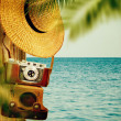 Vintage travel background with old camera. — Stock Photo #40524249