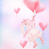Toy bunny and balloons on sky background. — Stock Photo