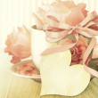 Beautiful pastel roses in a cup. Mother's day card. — Stock Photo #42130013