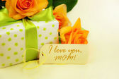Beautiful gift box with roses. — Stock Photo