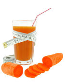Carrot juice and meter — Stock Photo