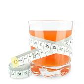 Grapefruit juice and meter — Stock Photo