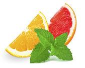 Grapefruit, orange and mint — Stock Photo