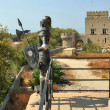 Stock Photo: Rhodes knight and Grand Master palace on background