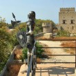 Rhodes knight and Grand Master palace on background — Stock Photo