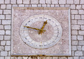 Stony clock on townhall in city Krk, Croatia — Stock Photo