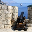 Old cannon and cruise ship in Dubrovnik. — Stock Photo