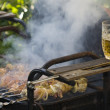 Cooking shashlik on grill — Stock Photo #23208404