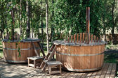 Two wooden bathtubs — Stock Photo