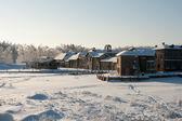 Medieval winter village — Stock Photo