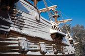 Vintage vela barco cubierto de nieve — Foto de Stock