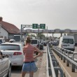 Traffic jams on the Ukrainian-Hungarian border customs checkpoin - Stock Photo