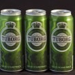 Wet Tuborg Green beer cans — Stock Photo