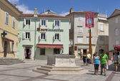 Central square of Krk town — Stock Photo