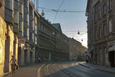 Zagreb street at sunset — Stock Photo