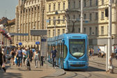 Zagreb central city square and tram stop — Stock Photo
