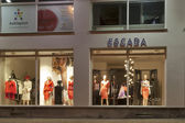 Escada store in Karlovy Vary at night — Stock Photo