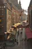Dresden narrow street with Christmas decorations — Stock Photo