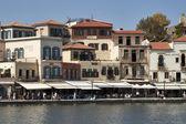 Chania Venetian Harbour seafront. Crete, Greece. — Stock Photo