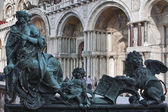 Sculpture of National Library of St Mark's. Venice, Italy. — Stock Photo