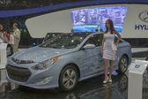 Hyundai Sonata Hybrid car model on display — Stock Photo