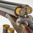 Double barreled old shotgun charged — Stock Photo